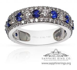 Skip to the beginning of the images gallery Custom Platinum Sapphire Wedding Band