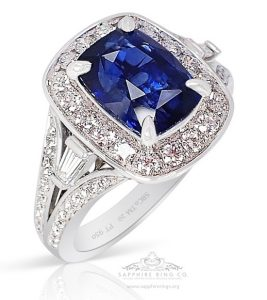 Skip to the beginning of the images gallery Natural Platinum Sapphire Ring-3.15 Ct Cushion Cut