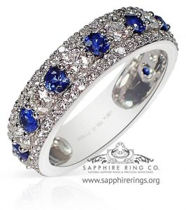 Blue Natural Sapphire Platinum Band
