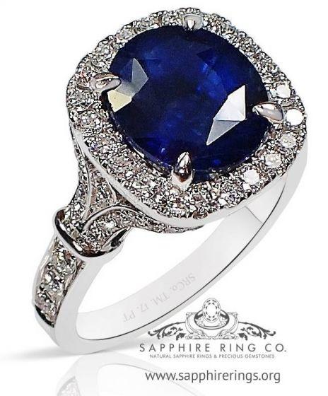 Untreated Platinum Blue Sapphire Ring, 4.10 Ct