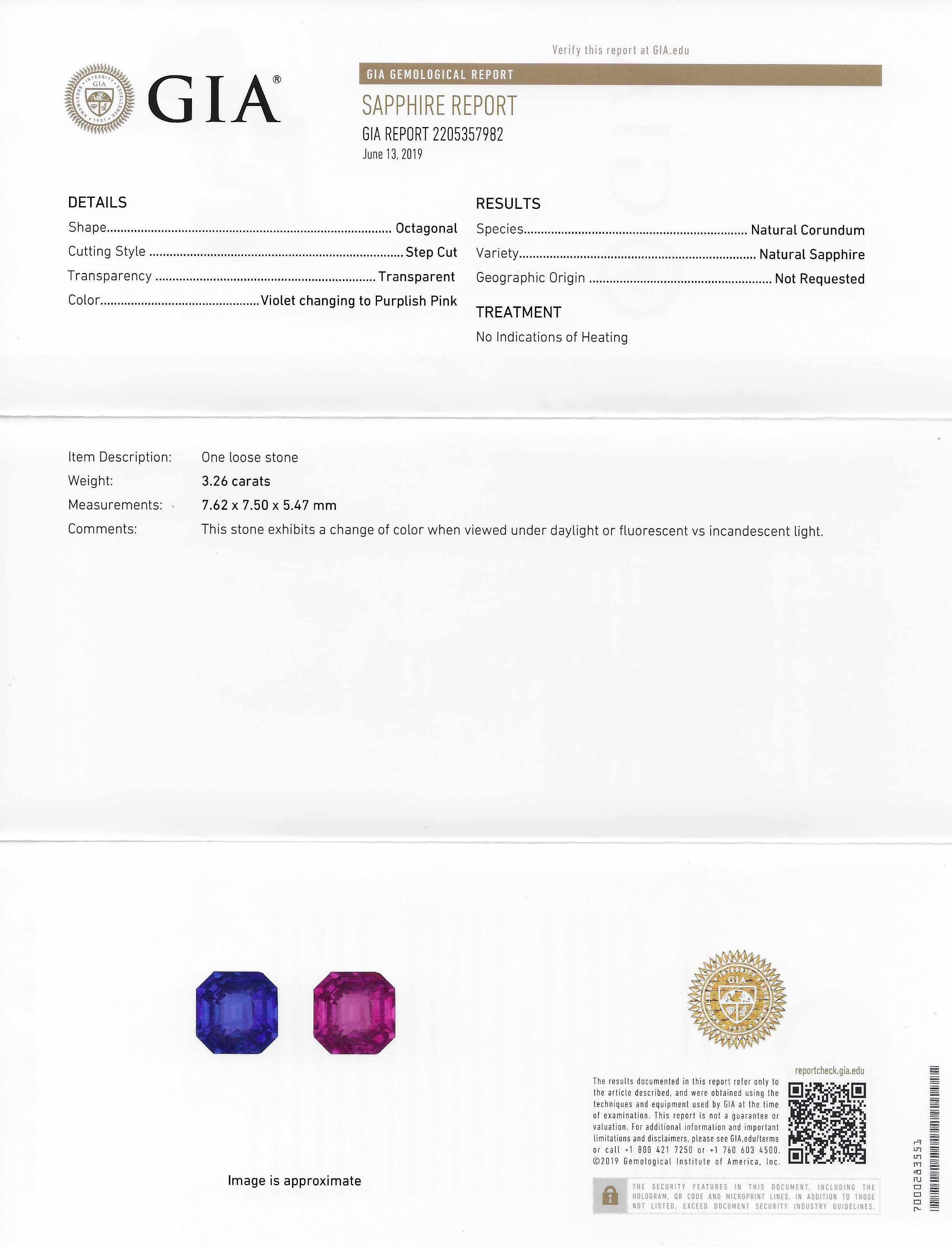 GIA report for genuine sapphire ring