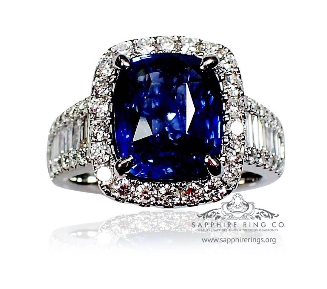 Royal blue Sapphire diamond ring