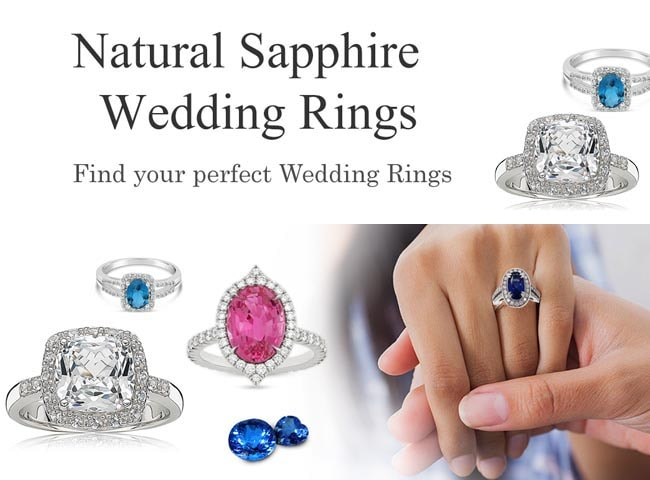 Wedding real Blue Sapphire Rings